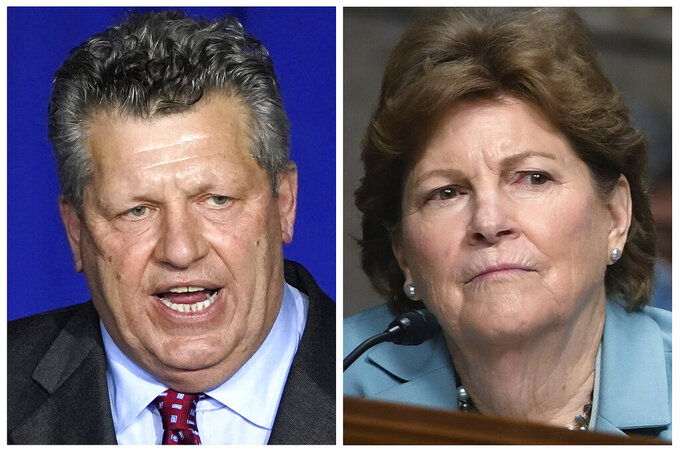 "FILE - This photo combo shows Republican Bryant ""Corky"" Messner, left, and incumbent U.S. Sen. Jeanne Shaheen, D-NH, right, New Hampshire candidates for the U.S. Senate in the Nov. 3 general election. (AP Photos, File)"