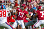 Alabama quarterback Tua Tagovailoa (13) throws long during the first half of an NCAA college football game against Mississippi, Saturday, Sept. 28, 2019, in Tuscaloosa, Ala. (AP Photo/Vasha Hunt)
