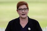 Australian Foreign Minister Marise Payne comments in Penrith, Australia Monday, May 18, 2020. Payne welcomed international support for an independent investigation of the coronavirus: an inquiry that has been condemned by China and blamed for a bilateral trade rift. (AP Photo/Rick Rycroft)