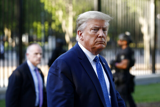FILE - In this Monday, June 1, 2020, file photo, President Donald Trump returns to the White House in Washington. Trump is traveling to Maine on Friday, June 5, 2020, to visit a company that makes specialized swabs for coronavirus testing. (AP Photo/Patrick Semansky, File)