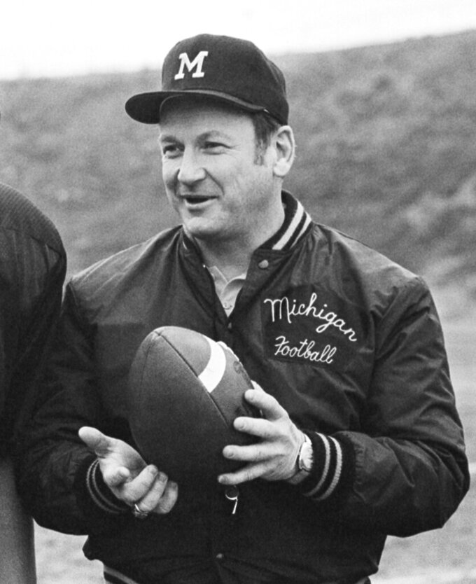 FILE - In this Dec. 21, 1977, file photo, Michigan football coach Bo Schembechler is seen during picture day at Citrus College in Azusa, Calif. Matt Schembechler, a son of the legendary coach, was among the hundreds of men who were sexually assaulted by a campus doctor, and he will speak publicly about the abuse along with two players who also were victims in the 1970s and '80s, lawyers said Wednesday, June 9, 2021. (AP Photo/File)