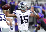 Kansas State quarterback Will Howard (15) looks for an open receiver in the fourth quarter of an NCAA college football game against TCU, Saturday, Oct. 10, 2020, in Fort Worth, Texas. (AP Photo/Richard W. Rodriguez)