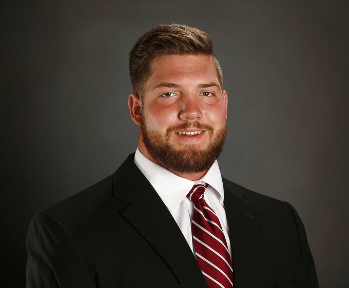 This 2018 photo provided by Univ. of Alabama Athletics shows Jonah Williams. Williams is a prospect in the 2019 NFL Draft. (Shelby Akin/UA Athletics via AP)