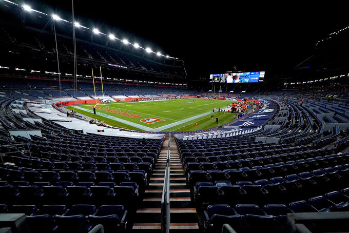 The Tennessee Titans and the Denver Broncos compete during the first half of an NFL football game, Monday, Sept. 14, 2020, in Denver. (AP Photo/Jack Dempsey)