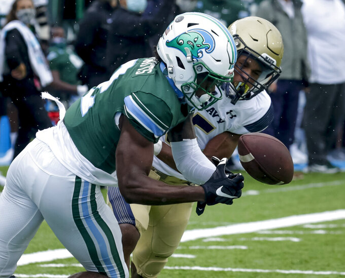 Tulane wide receiver Duece Watts (2) can't make the catch against Navy cornerback Michael McMorris (5) during the first half of an NCAA college football game, Saturday, Sept. 19, 2020, in New Orleans. (Scott Threlkeld/The Times-Picayune/The New Orleans Advocate)