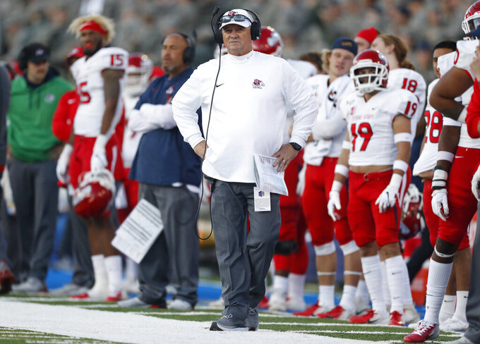 FILE - In this Oct. 12, 2019, file photo, Fresno State coach Jeff Tedford watches the team's NCAA college football game against Air Force at Air Force Academy, Colo. Tedford is stepping down from the job after three seasons at his alma mater. A person familiar with the decision says the 58-year-old Tedford will resign from his job. The person spoke on condition of anonymity Thursday night, Dec. 5, because the decision has not been announced. (AP Photo/David Zalubowski, File)