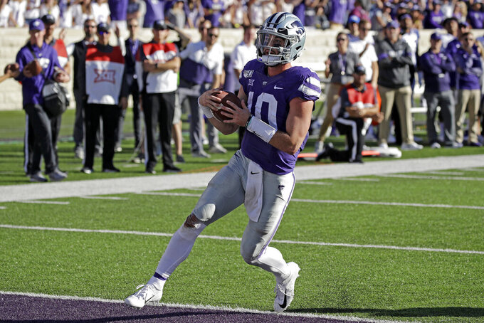 Kansas State quarterback Skylar Thompson (10) runs into the end zone to score a touchdown during the second half of an NCAA college football game against TCU Saturday, Oct. 19, 2019, in Manhattan, Kan. Kansas State won 24-17. (AP Photo/Charlie Riedel)