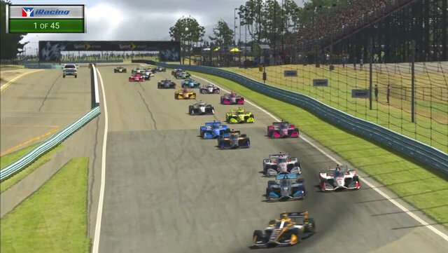 In this image taken from video provided by iRacing IndyCar, IndyCar Pato O'Ward, foreground, heads into a turn during opening lap of the American Red Cross Grand Prix virtual IndyCar auto race at Watkins Glen International, Saturday, March 28, 2020. (iRacing IndyCar via AP)