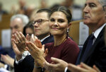Sweden's Crown Princess Victoria, second right, applauds during the planning session
