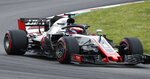 Haas driver Romain Grosjean of France steers his car during the third free practice for the Spanish Formula One Grand Prix at the Barcelona Catalunya racetrack in Montmelo, Spain, Saturday, May 12, 2018. The Spanish Formula One Grand Prix will take place on Sunday. (AP Photo/Manu Fernandez)
