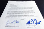 The letter from House Judiciary Chairman Jerrold Nadler and House Intelligence Committee Chairman Adam Schiff to special counsel Robert Mueller that was sent with subpoenas to compel Mueller's testimony to the committees on July 17, is photographed in Washington, Tuesday, June 25, 2019. Mueller has agreed to testify publicly before the House Judiciary and Intelligence Committees after both panels issued subpoenas to him Tuesday evening. (AP Photo/Jon Elswick)
