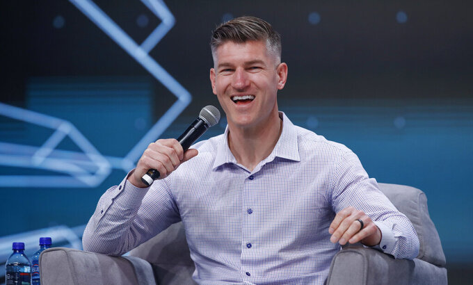 Chicago Bears general manager Ryan Pace smiles during a Leading the Bears panel Sunday, June 9, 2019, in Rosemont, Ill. (Kamil Krzaczynski/Chicago Tribune via AP)