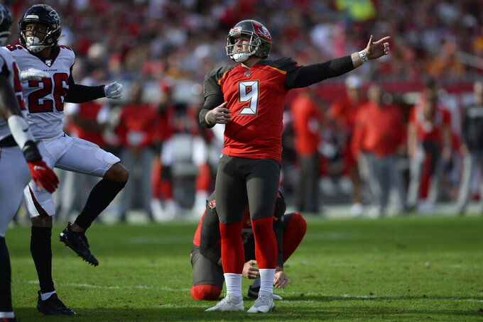 Tampa Bay Buccaneers' Matt Gay (9) watches his field goal go wide against the Atlanta Falcons during the second half of an NFL football game Sunday, Dec. 29, 2019, in Tampa, Fla. (AP Photo/Jason Behnken)