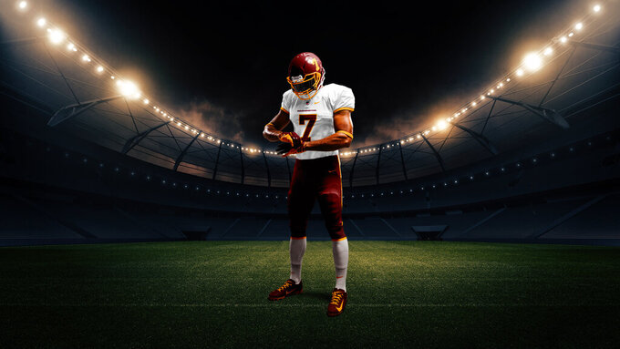 This artist's rendering provided by the Washington Football team shows the front of the NFL football team's new white uniform. (Washington Football via AP)