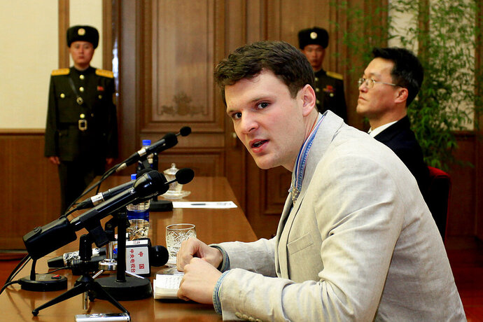 FILE - In this Feb. 29, 2016, file photo, American student Otto Warmbier speaks as Warmbier is presented to reporters in Pyongyang, North Korea. Warmbier's parents spoke out Friday, March 1, 2019, after President Donald Trump's comment this week that he takes North Korea's leader Kim Jong Un