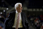 Davidson head coach Bob McKillop reacts during the first half of an NCAA college basketball game against Auburn at the Veterans Classic Tournament, Friday, Nov. 8, 2019, in Annapolis, Md. (AP Photo/Julio Cortez)