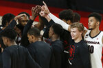 Georgia players gather before an NCAA college basketball exhibition game against North Georgia in Athens, Ga., Wednesday, Dec. 2, 2020. (Joshua L. Jones/Athens Banner-Herald via AP)