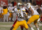 Wyoming quarterback Tyler Vander Waal fires a pass off against Fresno State during the first half of an NCAA college football game in Fresno, Calif., Saturday, Oct. 13, 2018. (AP Photo/Gary Kazanjian)