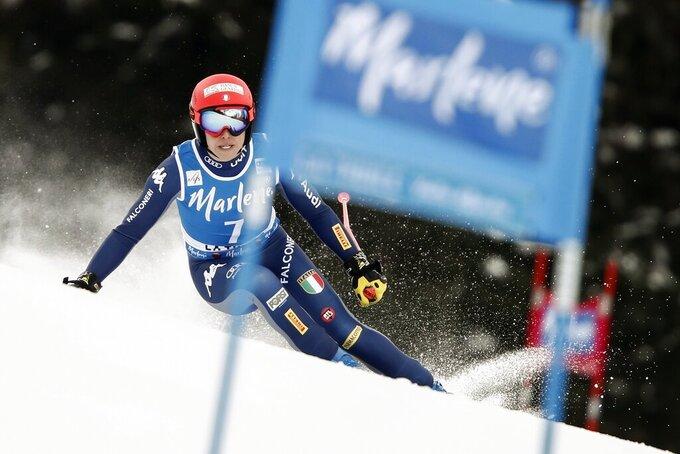 Italy's Federica Brignone competes in an alpine ski, women's World Cup Super G, in La Thuile, Italy, Saturday, Feb. 29, 2020. (AP Photo/Gabriele Facciotti)