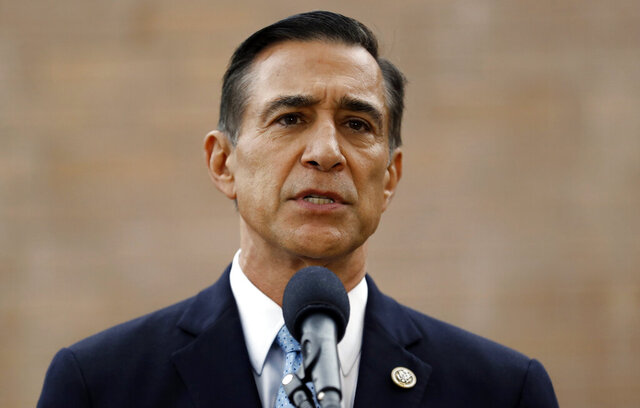In this Sept. 26, 2019, file photo, former Republican congressman Darrell Issa speaks during a news conference in El Cajon, Calif. Issa is running to regain the 50th Congressional District seat left vacant by the resignation of Duncan Hunter. (AP Photo/Gregory Bull, File)