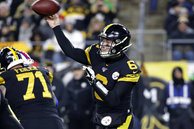 Pittsburgh Steelers quarterback Devlin Hodges throws a pass during the first half of an NFL football game against the Buffalo Bills in Pittsburgh, Sunday, Dec. 15, 2019. (AP Photo/Don Wright)