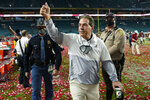 FILE - Alabama head coach Nick Saban leaves the field after their win against Ohio State in the NCAA College Football Playoff national championship game in Miami Gardens, Fla., in this Tuesday, Jan. 12, 2021, file photo. The National signing day period begins Wednesday, Feb. 3, 2021. (AP Photo/Lynne Sladky, File)