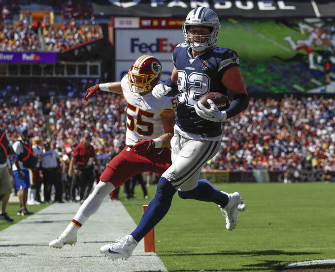 Dallas Cowboys tight end Jason Witten (82) scores a touchdown against Washington Redskins linebacker Cole Holcomb (55) in the first half of an NFL football game, Sunday, Sept. 15, 2019, in Landover, Md. (AP Photo/Evan Vucci)