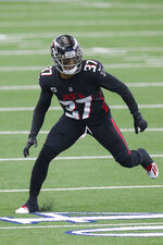 Atlanta Falcons free safety Ricardo Allen (37) defends during an NFL football game against the Dallas Cowboys, Sunday, Sept. 20, 2020, in Arlington, Texas. The Atlanta Falcons are looking to have some injured players return to their depleted defense for Sunday's game against Carolina. The winless Falcons have lost five members of their secondary. (AP Photo/Brandon Wade)