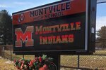 In this Friday, Jan. 24, 2020, photo, a sign at Montville High School includes the team name