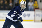 FILE - In this Jan. 24, 2019, file photo, Penn State's Brandon Biro is shown during an NCAA hockey game in Ann Arbor, Mich. The Buffalo Sabres have agreed to an entry-level contract with undrafted forward Brandon Biro. The two-year deal was announced on Wednesday, March 18, 2020. The 22-year-old Biro helped lead Penn State to a Big Ten-best 12-8-4 record while serving as the captain for his senior season. (AP Photo/Al Goldis, File)