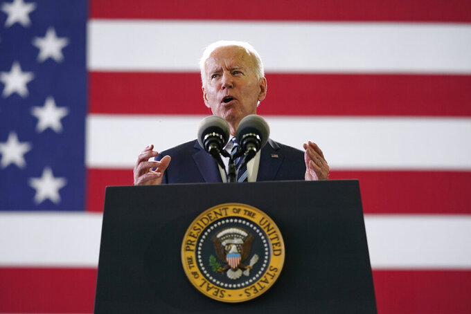 FILE - In this Wednesday, June 9, 2021, file photo, President Joe Biden speaks to American service members at RAF Mildenhall in Suffolk, England. The Biden administration says it will enhance its analysis of threats from domestic terrorists as part of a nationwide strategy to combat domestic terrorism. (AP Photo/Patrick Semansky, File)