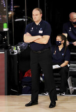 Memphis Grizzlies head coach Taylor Jenkins looks on during the first half of an NBA basketball game  against the Portland Trail Blazers, Friday, July 31, 2020, in Lake Buena Vista, Fla. (Mike Ehrmann/Pool Photo via AP)