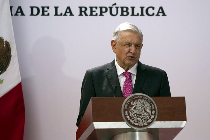 Mexican President Andres Manuel Lopez Obrador speaks during a ceremony marking the third anniversary of his presidential election at the National Palace in Mexico City, Thursday, July 1, 2021. (AP Photo/Fernando Llano)