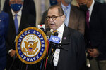 FILE - In this Monday, June 28, 2021, file photo, U.S. Rep. Jerry Nadler speaks during a news conference in New York. In a letter Tuesday, Sept. 21, 2021, to New York Gov. Kathy Hochul and New York City Mayor Bill de Blasio, four members of Congress from New York, including Nadler, demanded the release of inmates and the closure of New York City's troubled Rikers Island jail complex after another inmate was reported dead at the facility over the weekend. (AP Photo/Seth Wenig, File)