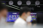 Currency traders watch computer monitors near screens showing the Korea Composite Stock Price Index (KOSPI), left, and the foreign exchange rate between U.S. dollar and South Korean won at the foreign exchange dealing room in Seoul, South Korea, Thursday, Oct. 15, 2020. Asian stocks followed Wall Street lower on Thursday as hopes U.S. leaders will agree on a new economic stimulus before the Nov. 3 presidential election faded. (AP Photo/Lee Jin-man)