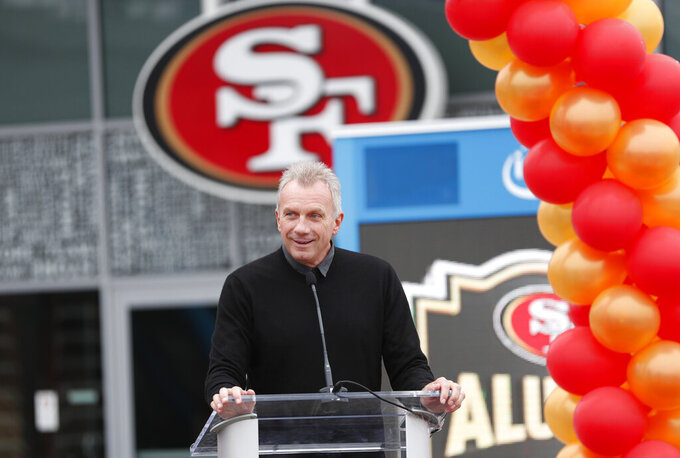 FILE - In this Oct. 21, 2018 file photo, former San Francisco 49ers quarterback Joe Montana speaks at a ceremony in Santa Clara, Calif. Hall-of-Fame quarterback Montana, looking to hit pay dirt in the legal marijuana industry, is part of a $75 million investment in a pot operator, it was announced Thursday, Jan. 24, 2019. San Jose, California-based said it will use the investment to grow a company that includes a farm, a retail store, distribution center and a delivery service. (AP Photo/Tony Avelar, File)