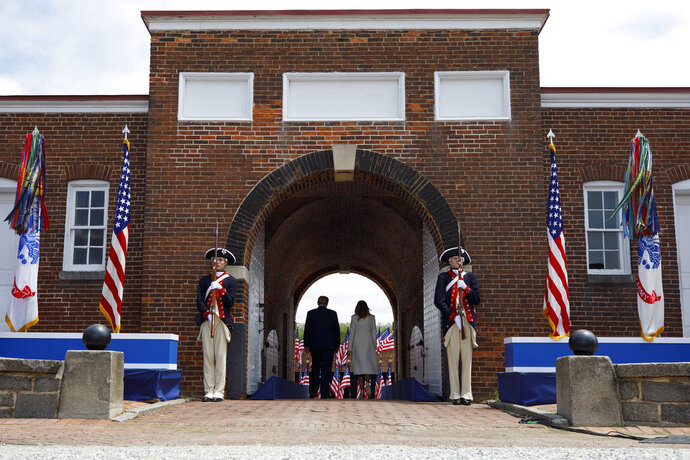 FILE- In this May 25, 2020, file photo President Donald Trump and first lady Melania Trump depart after participating in a Memorial Day ceremony at Fort McHenry National Monument and Historic Shrine in Baltimore. A forklift has damaged a brick walkway at the iconic national monument Fort McHenry, where Republicans were building a stage for Vice President Mike Pence's appearance for the party's national convention, a National Park Service spokeswoman said Monday, Aug. 24. (AP Photo/Evan Vucci, File)