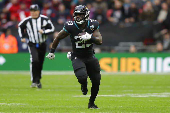 Jacksonville Jaguars running back Ryquell Armstead (23) moves down field against the Jacksonville Jaguars during the first half of an NFL football game at Wembley Stadium, Sunday, Nov. 3, 2019, in London. (AP Photo/Kirsty Wigglesworth)
