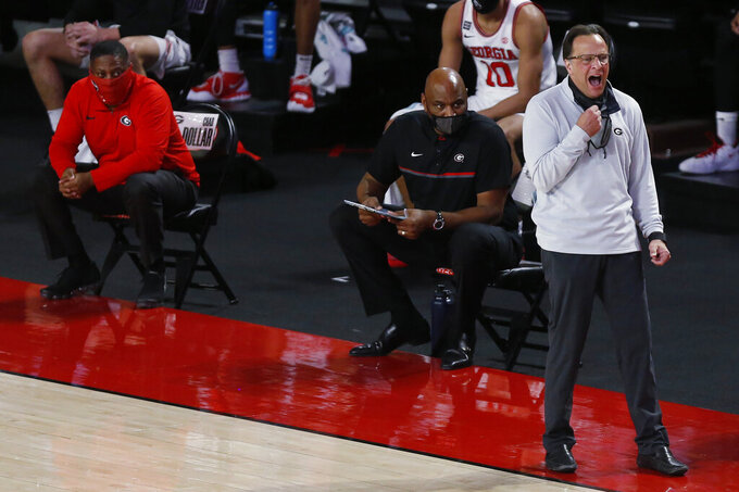 Georgia coach Tom Crean reacts during the team's NCAA college basketball game against Kentucky on Wednesday, Jan. 20, 2021, in Athens, Ga. (Joshua L. Jones/Athens Banner-Herald via AP)