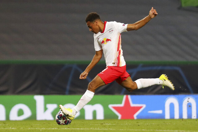 Leipzig's Tyler Adams scores his side's second goal during the Champions League quarterfinal match between RB Leipzig and Atletico Madrid at the Jose Alvalade stadium in Lisbon, Portugal, Thursday, Aug. 13, 2020. (Miguel A. Lopes/Pool Photo via AP)