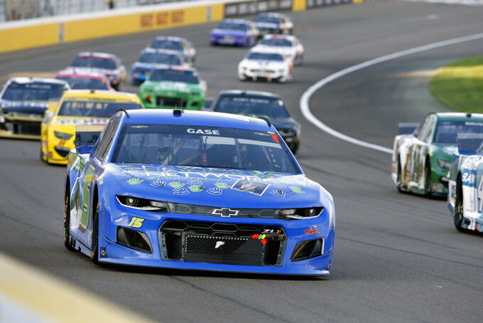 NASCAR Cup Series driver Joey Gase (15) drives during a NASCAR Cup Series auto race at the Las Vegas Motor Speedway Sunday, Sept. 26, 2021, in Las Vegas. Gase crashed during the race and was taken to a local hospital. (AP Photo/Steve Marcus)