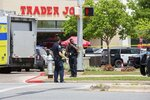 Police, SWAT and medical personnel respond to a fatal shooting in the Arboretum area of northwest Austin on Sunday, April 18, 2021. (Brontë Wittpenn/Austin American-Statesman via AP)