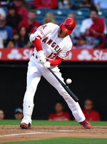 Los Angeles Angels' Shohei Ohtani, of Japan, swings for strike three during the first inning of the team's baseball game against the Kansas City Royals on Friday, May 17, 2019, in Anaheim, Calif. Ohtani struck out on the at-bat. (AP Photo/Mark J. Terrill)