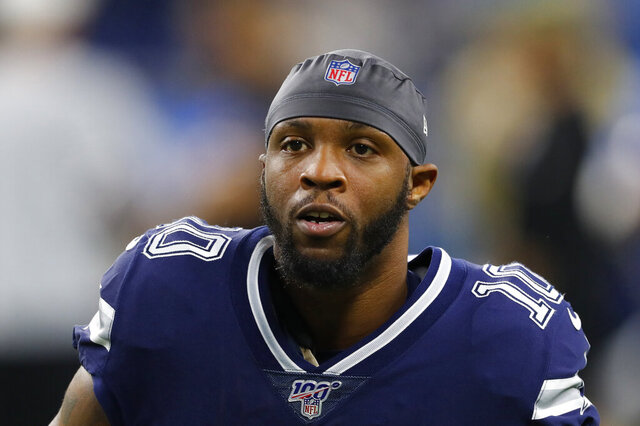 FILE - This Sunday, Nov. 17, 2019, file photo shows then-Dallas Cowboys wide receiver Tavon Austin during pregame of an NFL football game against the Detroit Lions in Detroit. Austin is attempting to make a comeback with Green Bay as the Packers look to add depth to their receiving group. The Packers announced Tuesday, Dec. 1, 2020, that they had signed Austin and released wide receiver Darrius Shepherd. (AP Photo/Paul Sancya, File)