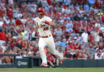 St. Louis Cardinals' Paul Goldschmidt runs in to score during the first inning of the team's baseball game against the Arizona Diamondbacks on Saturday, July 13, 2019, in St. Louis. (AP Photo/Jeff Roberson)