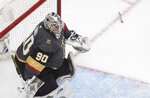 Vegas Golden Knights goalie Robin Lehner loses his skate blade for the second time during the second period against the Chicago Blackhawks in Game 1 of an NHL hockey Stanley Cup first-round playoff series, Tuesday, Aug. 11, 2020, in Edmonton, Alberta. (Jason Franson/The Canadian Press via AP)