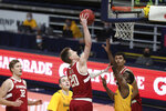 Stanford guard Noah Taitz shoots over California guard Makale Foreman during the first half of an NCAA college basketball game in Berkeley, Calif., Thursday, Feb. 4, 2021. (AP Photo/Jed Jacobsohn)