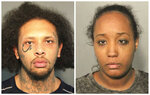 This photo combo of booking mugs provided by the Solano County Sheriff's Office in Fairfield, Calif., shows Jonathan Allen and his wife, Ina Rogers. Police said Monday, May 14, 2018, they had removed 10 children from a squalid California home and charged their father, Allen, with torture and their mother, Rogers, with neglect after an investigation revealed a lengthy period of severe physical and emotional abuse. (Solano County Sheriff's Office via AP)
