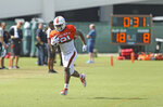 Miami Hurricanes tight end Larry Hodges runs drills during practice at the University of Miami Greentree Practice Field in Coral Gables on Thursday, August 8, 2019.(David Santiago/Miami Herald via AP)