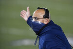 Penn State head coach James Franklin makes a point during the second quarter of an NCAA college football game against Illinois in State College, Pa., on Saturday, Dec. 19, 2020. (AP Photo/Barry Reeger)
